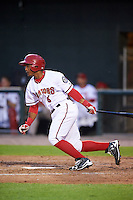Harrisburg Senators shortstop Wilmer Difo (6) at bat during a game against the New Hampshire Fisher Cats on June 2, 2016 at FNB Field in Harrisburg, Pennsylvania.  New Hampshire defeated Harrisburg 2-1.  (Mike Janes/Four Seam Images)