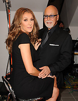 """MIAMI BEACH, FL- FEBRUARY 16: Celine Dion (AKA Céline Marie Claudette Dion)  arrives with her husband Rene Angelil (her manager, Syrian ancestry, m. 17-Dec-1994, one son)  and her son Rene-Charles Angelil (b. 25-Jan-2001) at the world premier of """"Celine Through The Eyes Of The World movie at the Regal South Beach Cinema. On February 16, 2010 Miami Beach, Florida.<br /> <br /> People:  Celine Dion, Rene Angelil, Rene-Charles Angelil"""