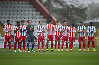 Stevenage players with one minute of applause in memory of Maradona during Stevenage vs Hull City, Emirates FA Cup Football at the Lamex Stadium on 29th November 2020