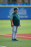 Oakland Athletics scout Neil Avent coaches third base during game four of the South Atlantic Border Battle at Truist Point on September 27, 2020 in High Pont, NC. (Brian Westerholt/Four Seam Images)