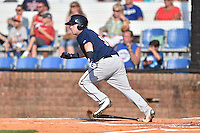 Johnson City Cardinals catcher Mitchell Kranson (9) runs to first during a game against the Elizabethton Twins at Howard Johnson Field at Cardinal Park on June 26, 2016 in Johnson City, Tennessee. The Twins defeated the Cardinals 13-12. (Tony Farlow/Four Seam Images)