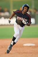 Kyle Davis #1 of the Kannapolis Intimidators hustles towards third base against the West Virginia Power at Fieldcrest Cannon Stadium April 25, 2010, in Kannapolis, North Carolina.  Photo by Brian Westerholt / Four Seam Images