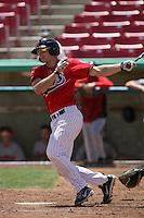John Hicks #8 of the High Desert Mavericks bats against the Visalia Rawhide at Stater Bros. Stadium on May 16, 2012 in Adelanto,California. (Larry Goren/Four Seam Images)