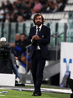 Calcio, Serie A: Juventus - Sampdoria, Turin, Allianz Stadium, September 20, 2020.<br /> Juventus' coach Andrea Pirlo claps hands during the Italian Serie A football match between Juventus and Sampdoria at the Allianz stadium in Turin, September 20,, 2020.<br /> UPDATE IMAGES PRESS/Isabella Bonotto