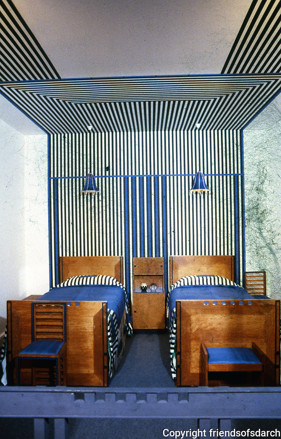 Mackintosh Collection: Hunterian Art Gallery, U. of Glasgow. 78 Derngate Guest Bedroom Furniture, 1919.