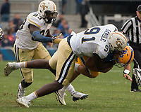 Georgia Tech defensive lineman Patrick Gamble (91) makes a tackle. The Pitt Panthers defeated the Georgia Tech Yellow Jackets 37-34 at Heinz Field in Pittsburgh, Pennsylvania on October 08, 2016.
