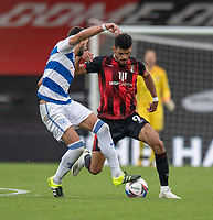 Queens Park Rangers' Yoann Barbet (left) battles for possession with Bournemouth's Dominic Solanke (right) <br /> <br /> Photographer David Horton/CameraSport<br /> <br /> The EFL Sky Bet Championship - Bournemouth v Queens Park Rangers - Saturday 17th October 2020 - Vitality Stadium - Bournemouth<br /> <br /> World Copyright © 2020 CameraSport. All rights reserved. 43 Linden Ave. Countesthorpe. Leicester. England. LE8 5PG - Tel: +44 (0) 116 277 4147 - admin@camerasport.com - www.camerasport.com