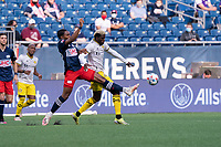 FOXBOROUGH, MA - MAY 16: Jen Bell #22 of New England Revolution intercepts a ball intended for Gyasi Zardes #11 Columbus SC during a game between Columbus SC and New England Revolution at Gillette Stadium on May 16, 2021 in Foxborough, Massachusetts.