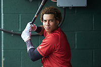 Ramon Beltre (1) of the Kannapolis Intimidators waits for his turn to bat during the game against the Rome Braves at Kannapolis Intimidators Stadium on April 7, 2019 in Kannapolis, North Carolina. The Intimidators defeated the Braves 2-1. (Brian Westerholt/Four Seam Images)