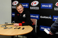 20130216 Copyright onEdition 2013©.Free for editorial use image, please credit: onEdition..Mark McCall, Saracens Director of Rugby, during the post-match press conference after the Premiership Rugby match between Saracens and Exeter Chiefs at Allianz Park on Saturday 16th February 2013 (Photo by Rob Munro)..For press contacts contact: Sam Feasey at brandRapport on M: +44 (0)7717 757114 E: SFeasey@brand-rapport.com..If you require a higher resolution image or you have any other onEdition photographic enquiries, please contact onEdition on 0845 900 2 900 or email info@onEdition.com.This image is copyright onEdition 2013©..This image has been supplied by onEdition and must be credited onEdition. The author is asserting his full Moral rights in relation to the publication of this image. Rights for onward transmission of any image or file is not granted or implied. Changing or deleting Copyright information is illegal as specified in the Copyright, Design and Patents Act 1988. If you are in any way unsure of your right to publish this image please contact onEdition on 0845 900 2 900 or email info@onEdition.com