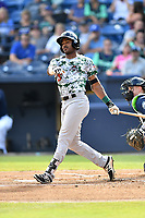 Augusta GreenJackets designated hitter Ashford Fulmer (19) swings at a pitch during a game against the Asheville Tourists at McCormick Field on July 15, 2017 in Asheville, North Carolina. The Tourists defeated the GreenJackets 2-1. (Tony Farlow/Four Seam Images)