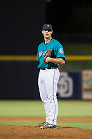 AZL Mariners relief pitcher Michael Fairchild (52) looks to his catcher for the sign against the AZL Royals on July 29, 2017 at Peoria Stadium in Peoria, Arizona. AZL Royals defeated the AZL Mariners 11-4. (Zachary Lucy/Four Seam Images)