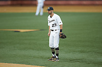 Wake Forest Demon Deacons second baseman Jake Mueller (23) on defense against the Davidson Wildcats at David F. Couch Ballpark on May 7, 2019 in  Winston-Salem, North Carolina. The Demon Deacons defeated the Wildcats 11-8. (Brian Westerholt/Four Seam Images)