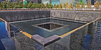 Looking across the impressive 1 World Trade Center Reflecting Pool at ground zero in New York City.