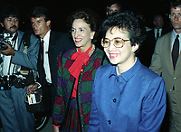 Sept 15 1986 - Philippine President Corazon C. Aquino greets officials as she walks across the flight line to the passenger terminal.
