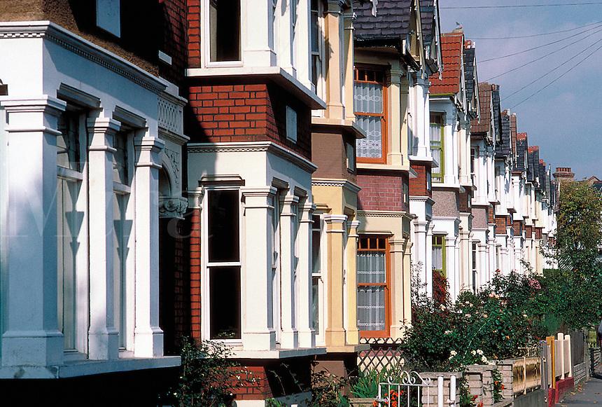 Row of suburban houses in England