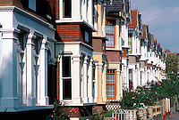 Row of suburban houses in England