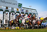 Horses break from the gate for the Royal Heroine Mile at Betfair Hollywood Park in Inglewood, CA on July 6, 2013. (Alex Evers/ Eclipse Sportswire)