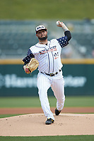 Charlotte Knights starting pitcher Jordan Guerrero (23) in action against the Durham Bulls at BB&T BallPark on May 27, 2019 in Charlotte, North Carolina. The Bulls defeated the Knights 10-0. (Brian Westerholt/Four Seam Images)