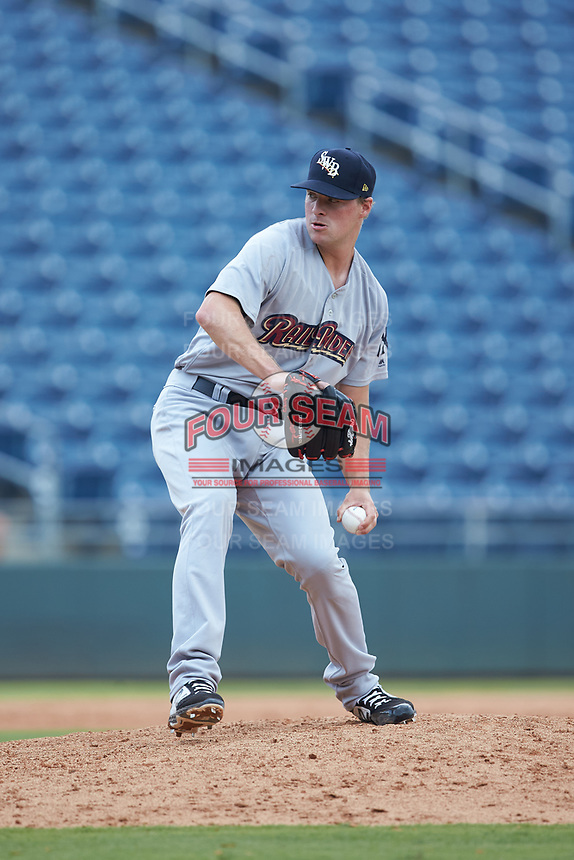 Scranton/Wilkes-Barre RailRiders relief pitcher Joe Mantiply (35) in action against the Gwinnett Stripers at Coolray Field on August 18, 2019 in Lawrenceville, Georgia. The RailRiders defeated the Stripers 9-3. (Brian Westerholt/Four Seam Images)