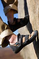 Leo Houlding's climbing shoes close up, Peak District, United Kingdom