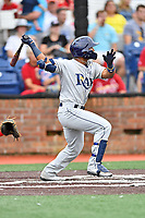 Princeton Rays shortstop Wander Franco (6) swings at a pitch during a game against the Johnson City Cardinals at TVA Credit Union Ballpark on August 9, 2018 in Johnson City, Tennessee. The Rays defeated the Cardinals 10-2. (Tony Farlow/Four Seam Images)