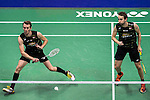 Carsten Mogensen and Mathias Boe of Denmark compete against Mohammad Ahsan and Rian Agung Saputro of Indonesia during their Men's Doubles Semi-Final of YONEX-SUNRISE Hong Kong Open Badminton Championships 2016 at the Hong Kong Coliseum on 26 November 2016 in Hong Kong China. Photo by Marcio Rodrigo Machado / Power Sport Images