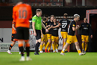 2nd October 2020; Tannadice Park, Dundee, Scotland; Scottish Premiership Football, Dundee United versus Livingston; Livingston players celebrate after Alan Forrest had scored a the 90th minute winner
