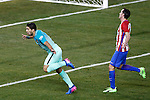Atletico de Madrid's Diego Godin (r) dejected and FC Barcelona's Luis Suarez  celebrates goal during Spanish Kings Cup semifinal 1st leg match. February 01,2017. (ALTERPHOTOS/Acero)