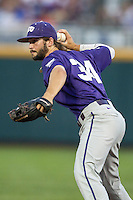 TCU Horned Frogs second baseman Garrett Crain (34) makes a throw to first base against the Vanderbilt Commodores in Game 12 of the NCAA College World Series on June 19, 2015 at TD Ameritrade Park in Omaha, Nebraska. The Commodores defeated TCU 7-1. (Andrew Woolley/Four Seam Images)