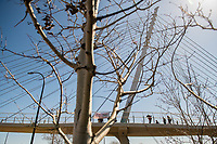 Students drop a banner over the Martin Olav Savo Bridge while demanding justice for George Floyd during the Derek Chauvin Trial on April 1, 2021 in Minneapolis, Minnesota. <br /> CAP/MPI/IS/CT<br /> ©CT/IS/MPI/Capital Pictures