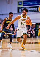 23 January 2019: University of Vermont Catamount Forward Isaiah Moll, a Freshman from Albany, NY, in first half action against the UMBC Retrievers at Patrick Gymnasium in Burlington, Vermont. The Catamounts fell to the Retrievers 74-61 who handed the Cats their first America East loss of the season. Mandatory Credit: Ed Wolfstein Photo *** RAW (NEF) Image File Available ***