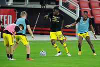 WASHINGTON, DC - OCTOBER 28: Fatai Alashe #26 of Columbus Crew SC warming up during a game between Columbus Crew and D.C. United at Audi Field on October 28, 2020 in Washington, DC.