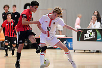 Mojtaba Sayed of Selwyn College and Samuel Fowles of Hamilton Boys' High School battle for the ball Futsal NZ Secondary Schools Junior Boys Final between Hamilton Boys High School and Selwyn College at ASB Sports Centre, Wellington on 26 March 2021.<br /> Copyright photo: Masanori Udagawa /  www.photosport.nz