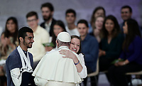 Pope Francis greets faithful at the end of the meeting with the youth and the Synod Fathers in the Paul VI Hall at the Vatican, on October 6, 2018. <br /> UPDATE IMAGES PRESS/Isabella Bonotto<br /> <br /> STRICTLY ONLY FOR EDITORIAL USE