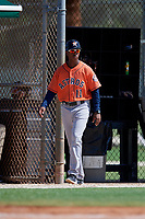 GCL Astros coach Wladimir Sutil (11) during a Gulf Coast League game against the GCL Marlins on August 8, 2019 at the Roger Dean Chevrolet Stadium Complex in Jupiter, Florida.  GCL Astros defeated GCL Marlins 4-2.  (Mike Janes/Four Seam Images)