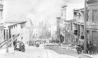 Arnold Genthe's famous photograph, looking toward the fire on Sacramento Street<br /> <br /> San Francisco 1906 Earthquake  - The San Francisco earthquake of 1906 was a major earthquake that struck San Francisco and the coast of Northern California at 5:12 a.m. on Wednesday, April 18, 1906. Devastating fires broke out in the city and lasted for several days. As a result of the quake and fires, about 3,000 people died and over 80% of San Francisco was destroyed.<br /> <br /> The earthquake and resulting fire are remembered as one of the worst natural disasters in the history of the United States