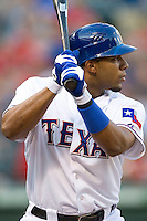 Texas Rangers shortstop Elvis Andrus #1 at bat during the Major League Baseball game against the Texas Rangers at the Rangers Ballpark in Arlington, Texas on July 27, 2011. Minnesota defeated Texas 7-2.  (Andrew Woolley/Four Seam Images)