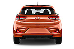 Straight rear view of 2015 Hyundai I20 Sport 3 Door Hatchback Rear View  stock images