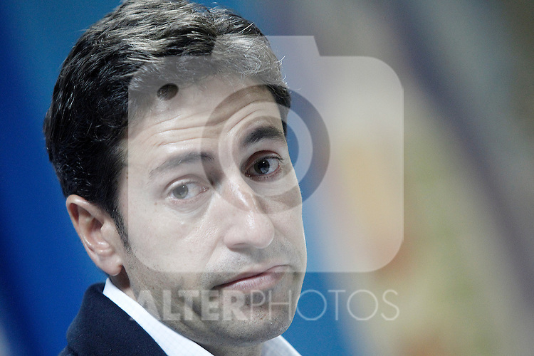 Getafe's coach Pablo Franco in press conference after La Liga match.March 16,2015. (ALTERPHOTOS/Acero)