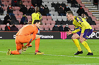 Harry Toffolo of Huddersfield Town right gives AFC Bournemouth keeper Asmir Begovic a hard stare after saving his effort during AFC Bournemouth vs Huddersfield Town, Sky Bet EFL Championship Football at the Vitality Stadium on 12th December 2020