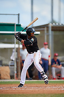GCL Marlins third baseman Christopher Rodriguez (7) at bat during a game against the GCL Cardinals on August 4, 2018 at Roger Dean Chevrolet Stadium in Jupiter, Florida.  GCL Marlins defeated GCL Cardinals 6-3.  (Mike Janes/Four Seam Images)