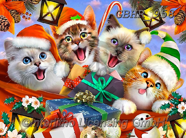 Howard, CHRISTMAS ANIMALS, WEIHNACHTEN TIERE, NAVIDAD ANIMALES, paintings+++++,GBHR958,#xa# ,Selfies
