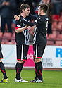 Pars' Lawrence Shankland (right) celebrates with Pars' Ross Forbes after he scores their second goal.