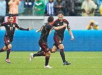 CARSON, CA - March 25, 2012: Alan Pulido (19) celebrating his goal during the Mexico vs Honduras match at the Home Depot Center in Carson, California. Final score Mexico 3, Honduras 0.