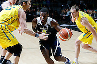 July 12, 2016: KADEEM ALLEN (5) of the Arizona Wildcats drives to the basket during game 1 of the Australian Boomers Farewell Series between the Australian Boomers and the American PAC-12 All-Stars at Hisense Arena in Melbourne, Australia. Sydney Low/AsteriskImages.com