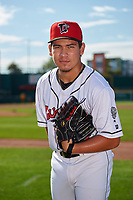 Lansing Lugnuts pitcher Eric Pardinho (20) poses for a photo before a Midwest League game against the Burlington Bees on July 18, 2019 at Cooley Law School Stadium in Lansing, Michigan.  Lansing defeated Burlington 5-4.  (Mike Janes/Four Seam Images)