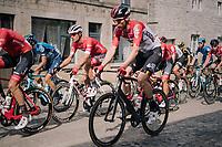 eventual winner Jasper Stuyven (BEL/Trek-Segafredo) in the peloton riding over the town's pavéd main road<br /> <br /> 59th Grand Prix de Wallonie 2018 <br /> 1 Day Race from Blegny to Citadelle de Namur (BEL / 206km)