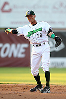 Jamestown Jammers second baseman Yefri Perez #18 during a game against the Mahoning Valley Scrappers at Russell Diethrick Park on June 19, 2012 in Jamestown, New York.  Jamestown defeated Mahoning Valley 3-1.  (Mike Janes/Four Seam Images)