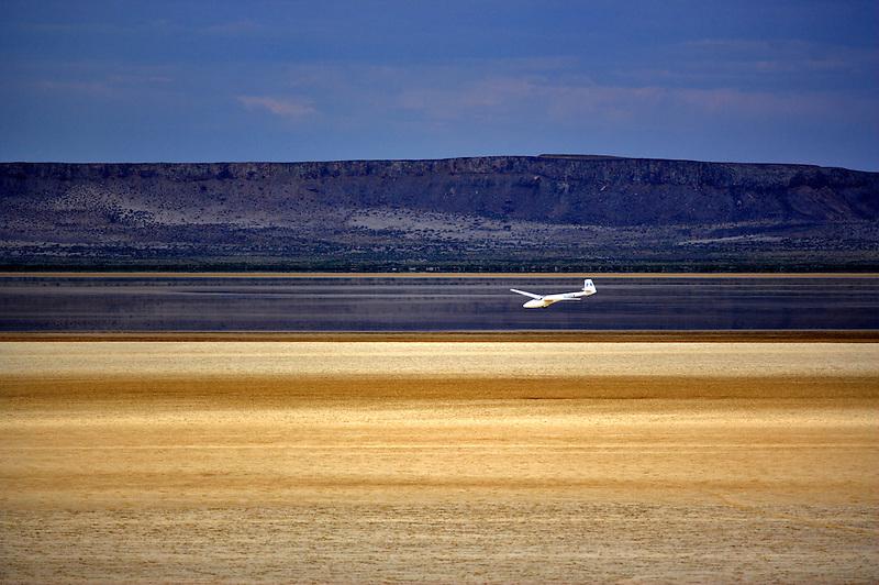 Glider plane landing on the Alvord Desert. Oregon
